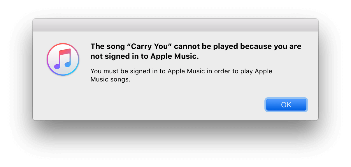 "reparar ""No has iniciado sesión en Apple Music"" error"