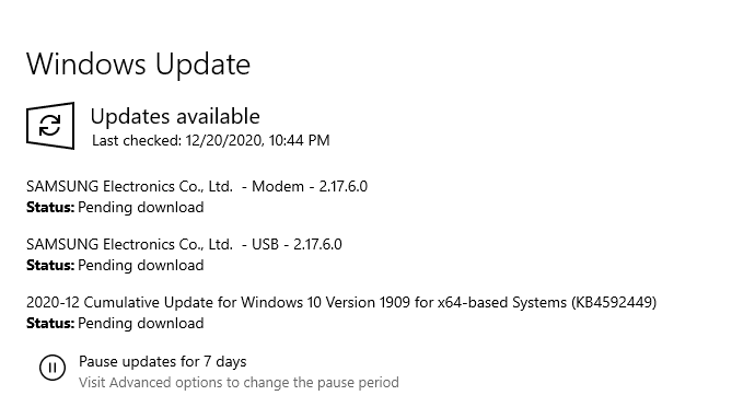 Instalar actualizaciones pendientes de Windows 10