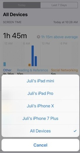 Eliminar dispositivos antiguos de Screen Time en iPhone o iPad
