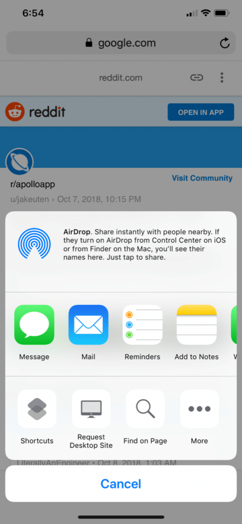 abrir enlaces de reddit en apollo